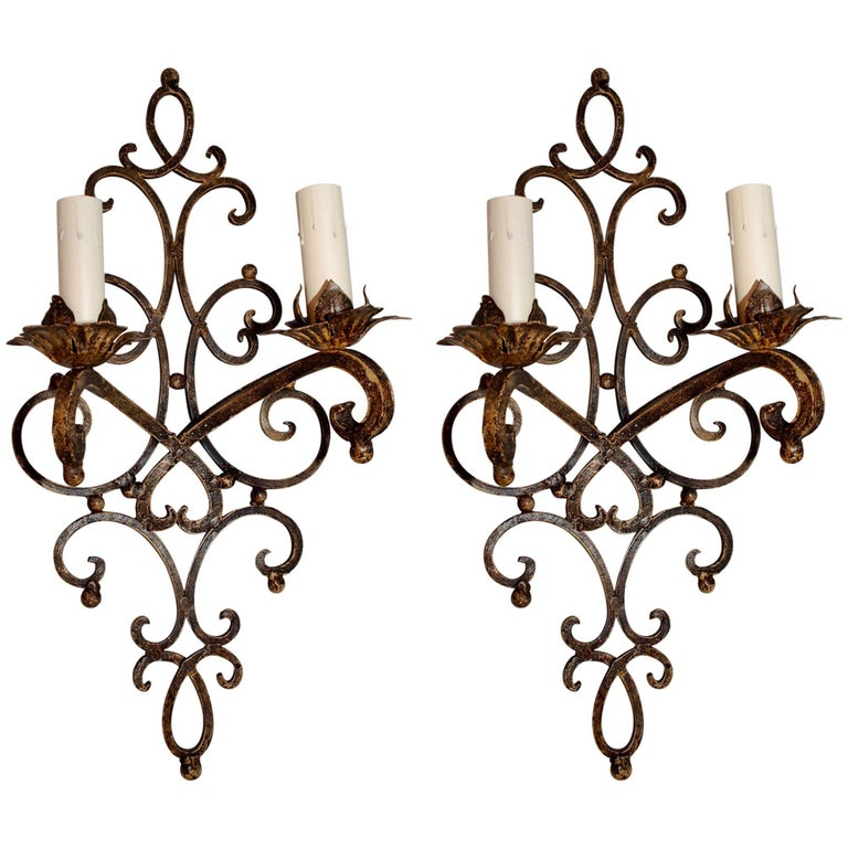 Elegant Large Pair of French 1940s Wrought Iron Sconces