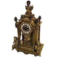 French Lemerle Charpentier Figural Silver Gilt Bronze Mantel Clock, 19th Century