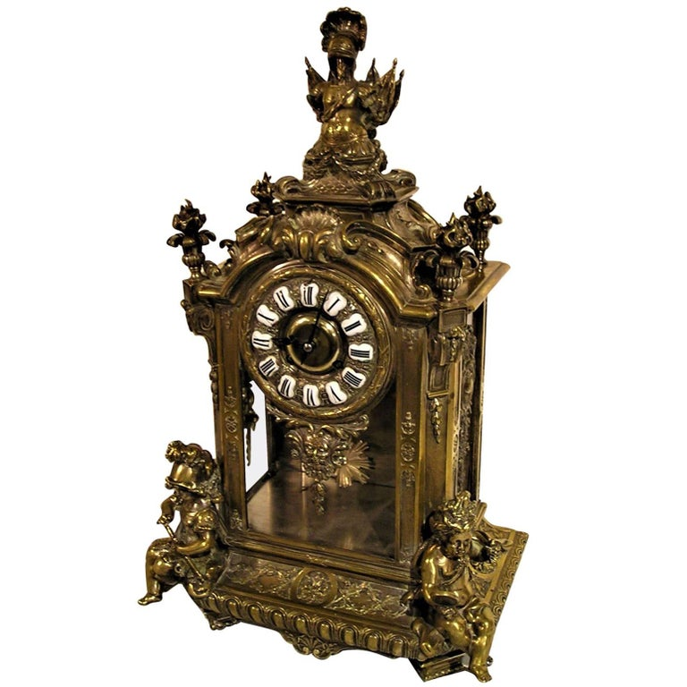 French Lemerle Charpentier Figural Silver Gilt Bronze Mantel Clock, 19th Century For Sale