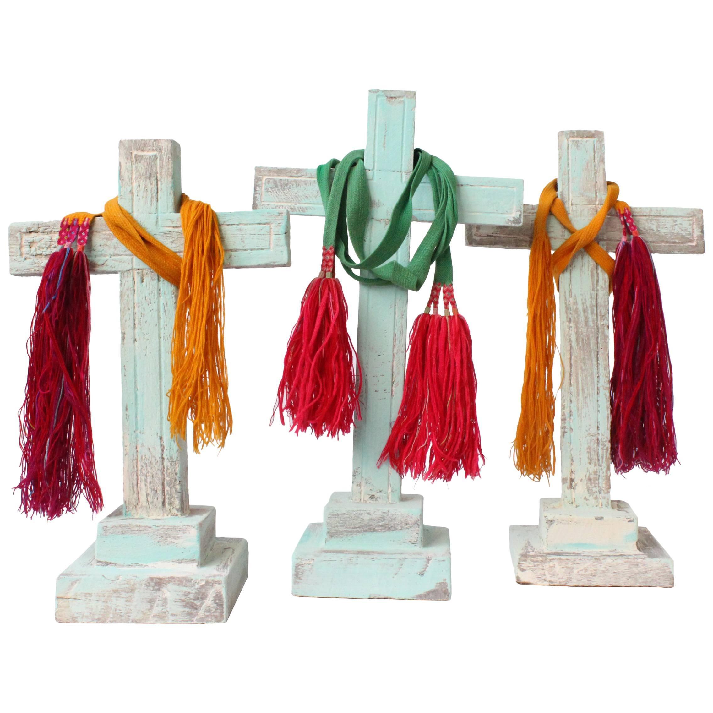 Set of Three Mesquite Wood Crosses Found in Zacatecas, circa 1900