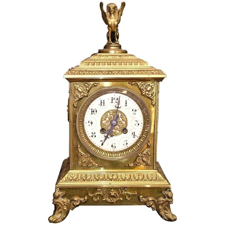 French Empire Style Bronze Mantel Clock