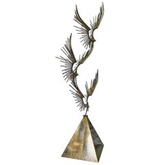 "Curtis Jere ""Eagles"" Abstract Steel and Copper Welded Sculpture"