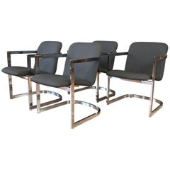 Milo Baughman for D.I.A. Set of Four Chrome Armchairs