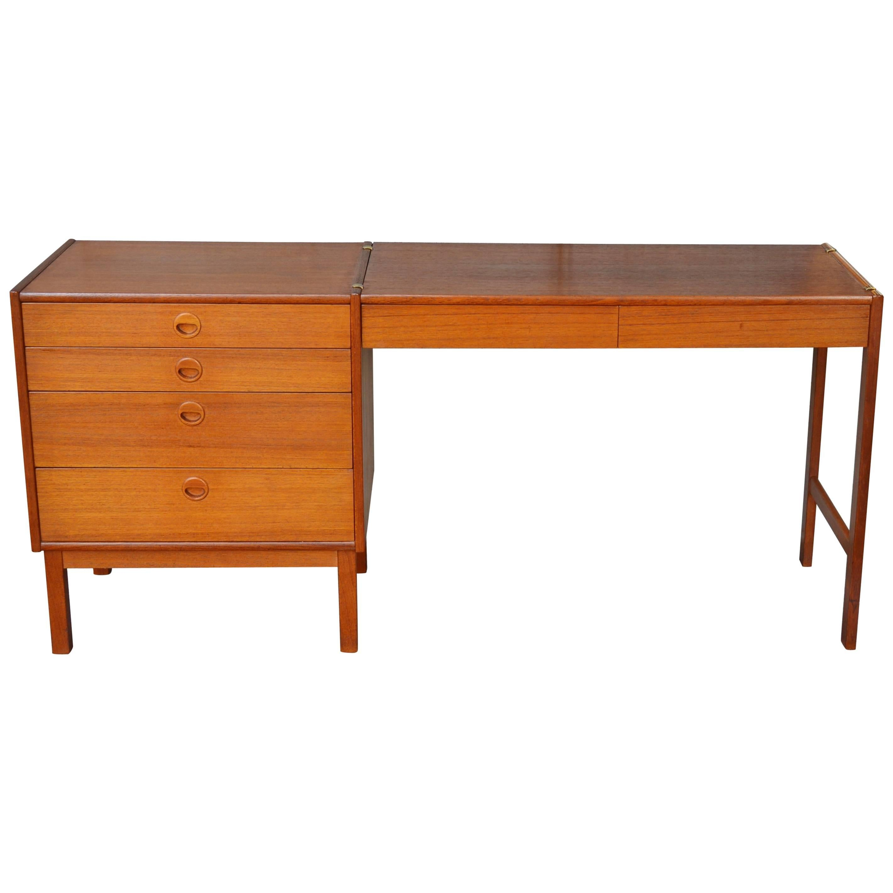 Danish Modern Teak Shallow Dresser With Clip On Desktop Extension
