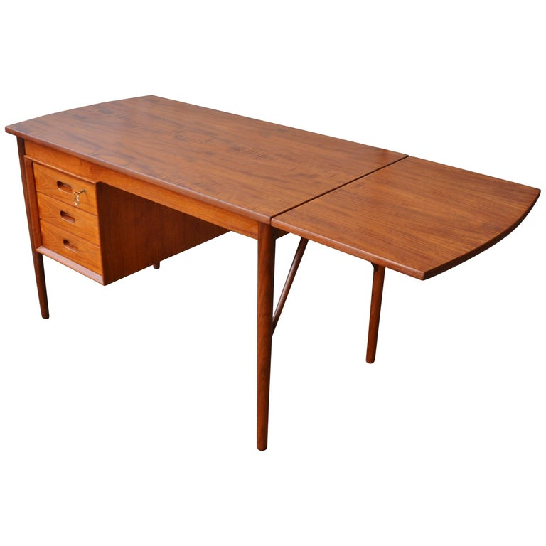 Danish Modern Teak Drop-Leaf Desk by EW Bach for Oddense Maskinsnedkeri
