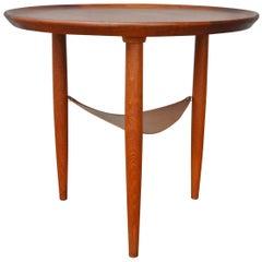 Danish Modern Teak Round Tripod Side Table Attributed to Anton Kildeberg