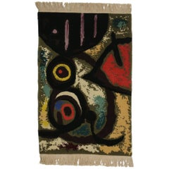 Surrealist Style Tapestry after Joan Miro's 'Femme Et Oiseaux' Woman and Birds