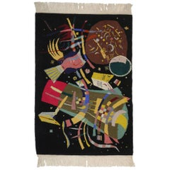 """Contemporary Abstract Tapestry Inspired by Wassily Kandinsky's """"Composition X"""""""