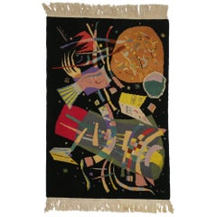 "Art Deco Style Tapestry Inspired by Wassily Kandinsky's ""Composition X"""