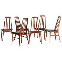 "Set of Six Eva Chairs Niels Koefoed Model ""Eva"" 1960s Scandinavian"