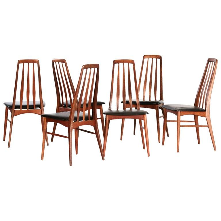 "Set of Six Eva Chairs Niels Koefoed Model ""Eva"" 1960s Scandinavian"
