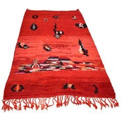 Vintage Hand-Knotted Red Moroccan Wool Berber Rug