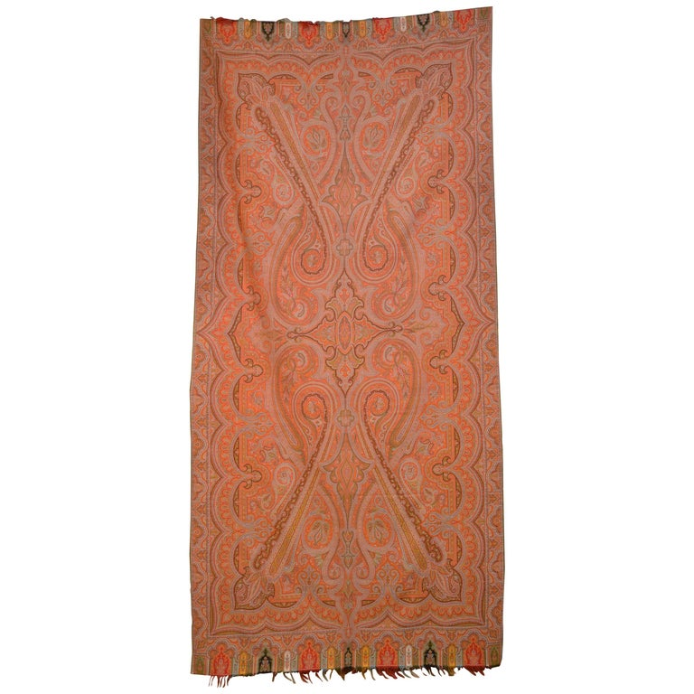 Late 19th Century French Kashmir Paisley Shawl For Sale