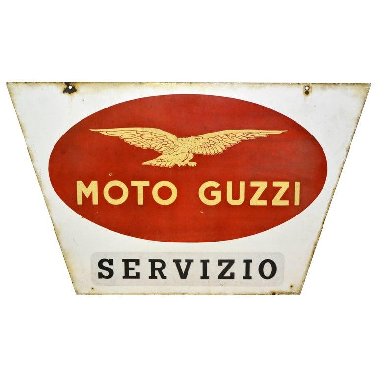 1950s Double-Sided Italian Enamel Metal Vintage Moto Guzzi Servizio Sign