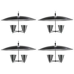 Set of Four Spun Aluminum Canopy, Domed Four-Light Pendant Chandelier, Litecraft