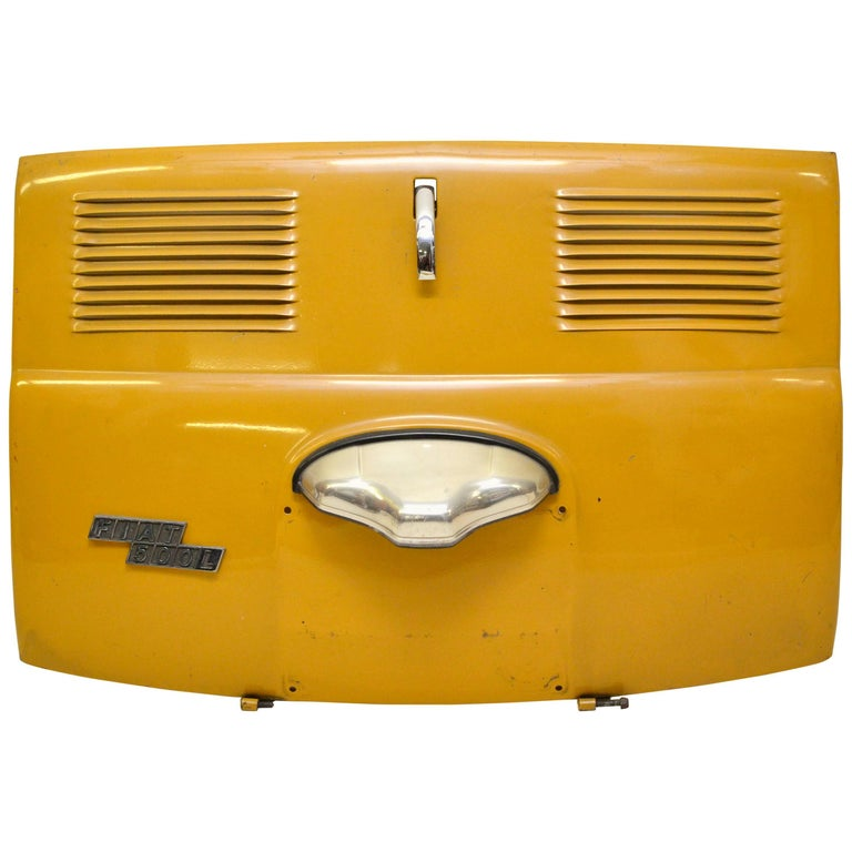 1970s Vintage Italian Fiat 500 Yellow Trunk Lid with Steel Parts