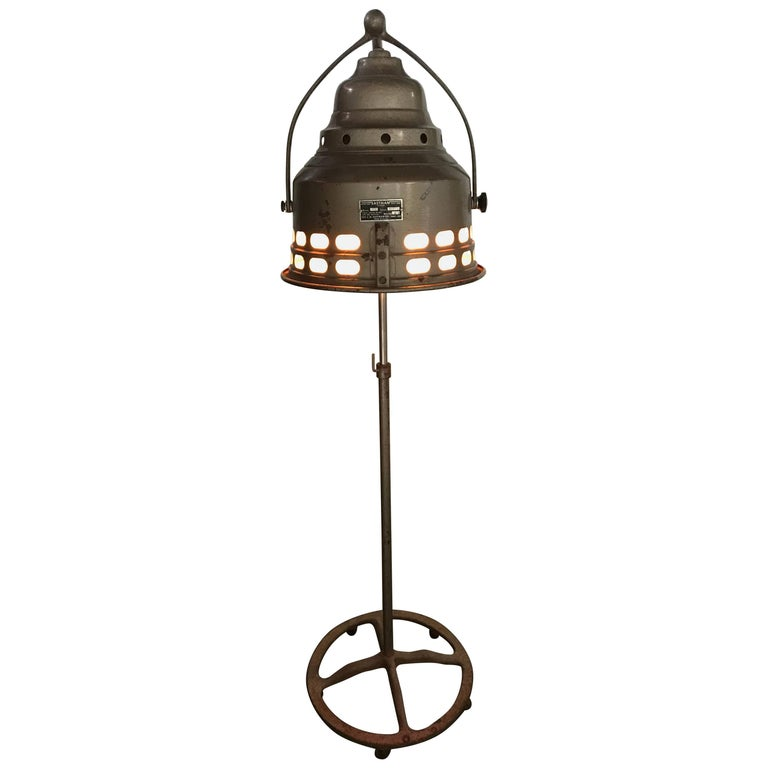 Stylish Cast Iron Industrial Floor Lamp with Red Lens by J. H. Eastman Co