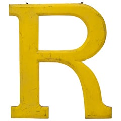 1960s Very Large Yellow Wooden Capital Letter R with Red Border Made in England