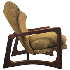 Modernist Sculptural Walnut Wing Back Lounge Chair by Adrian Pearsall