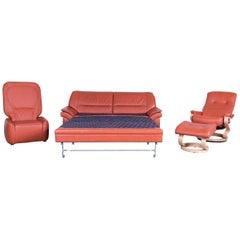 Himolla Sleepply Designer Leather Sofa Orange Set Three-Seat, Armchair and Stool