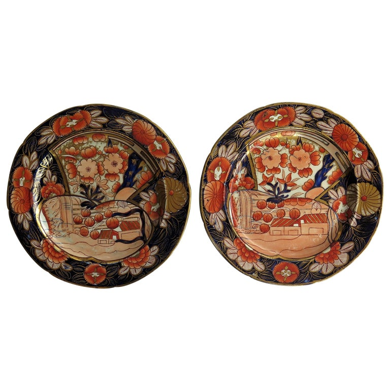 Rare Pair of Mason's Ironstone Dinner Plates in School House Pattern circa 1815