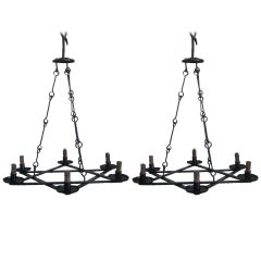 2 Mid-Century Modern Iron 'Star of David' Chandeliers, Raymond Subes Attributed