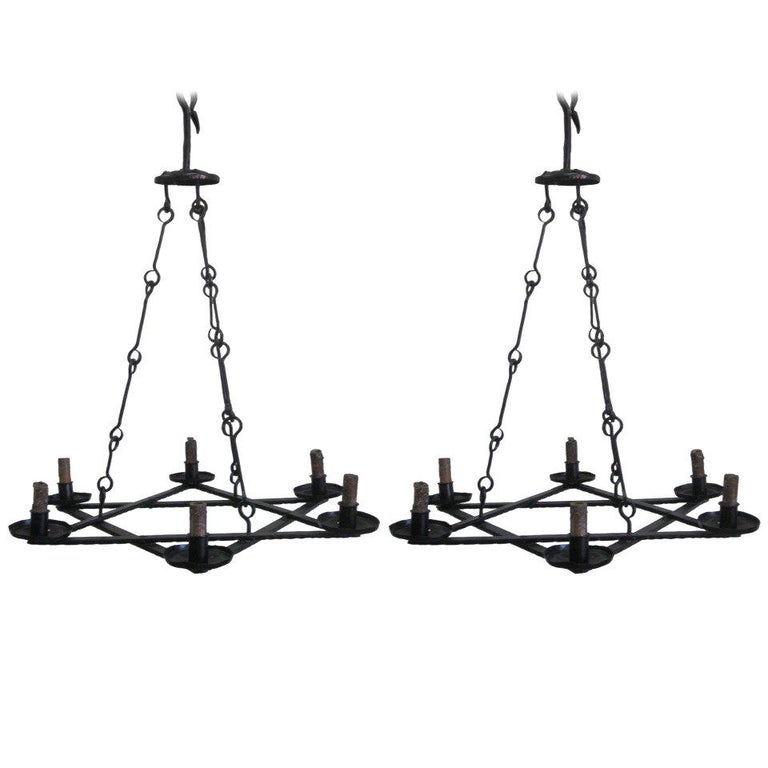 2 Mid-Century Modern Iron 'Star of David' Chandeliers, Raymond Subes Attributed For Sale