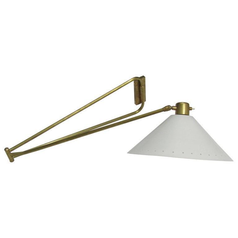 French 1950s Brass Articulated Wall Light by Lunel