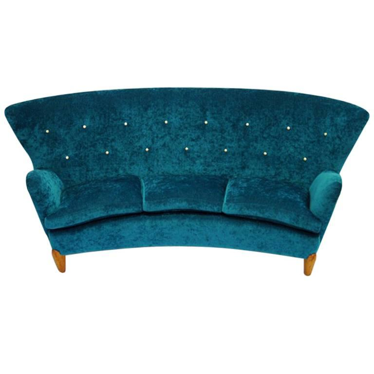 Midcentury Swedish Sofa in Seagreen Plush, 1940s For Sale