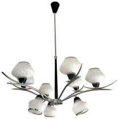 Stilnovo mid-century italian Chandelier Glass chrome frame, 1970