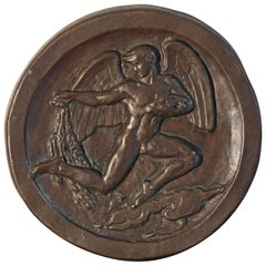 """Blessing the Fishing Industry,"" Art Deco Bas Relief Bronze Sculpture with Nude"