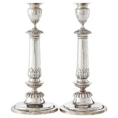Pair of Silver Candlesticks by Peter Frantz Vigelius, Frankfurt am Main
