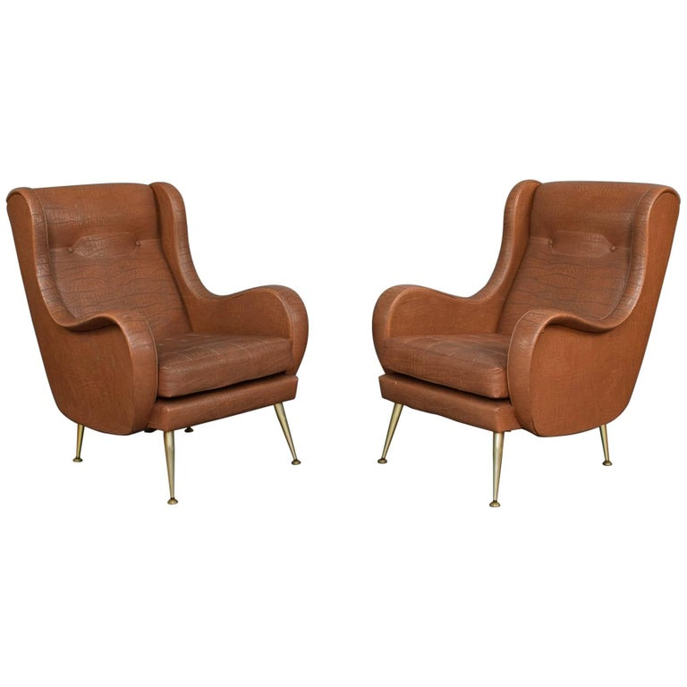 Pair of Italian Zanuso Style Lounge Armchairs, 1950s