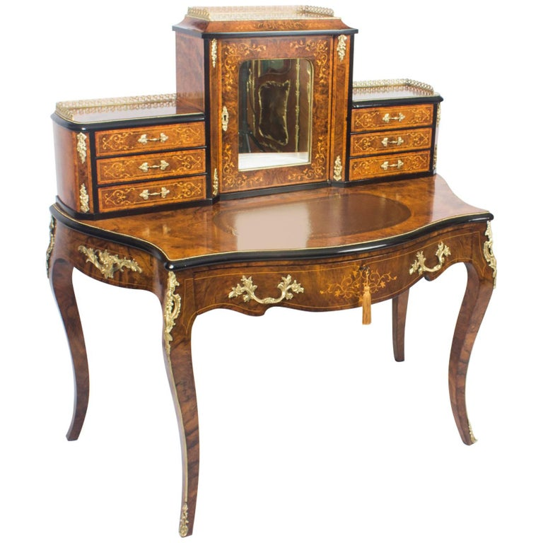 Antique Victorian Burr Walnut and Marquetry Bonheur Du Jour, 19th Century