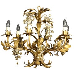 French Gilded Lily of the Valley Chandelier