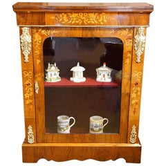 Victorian Floral Inlaid Pier Cabinet