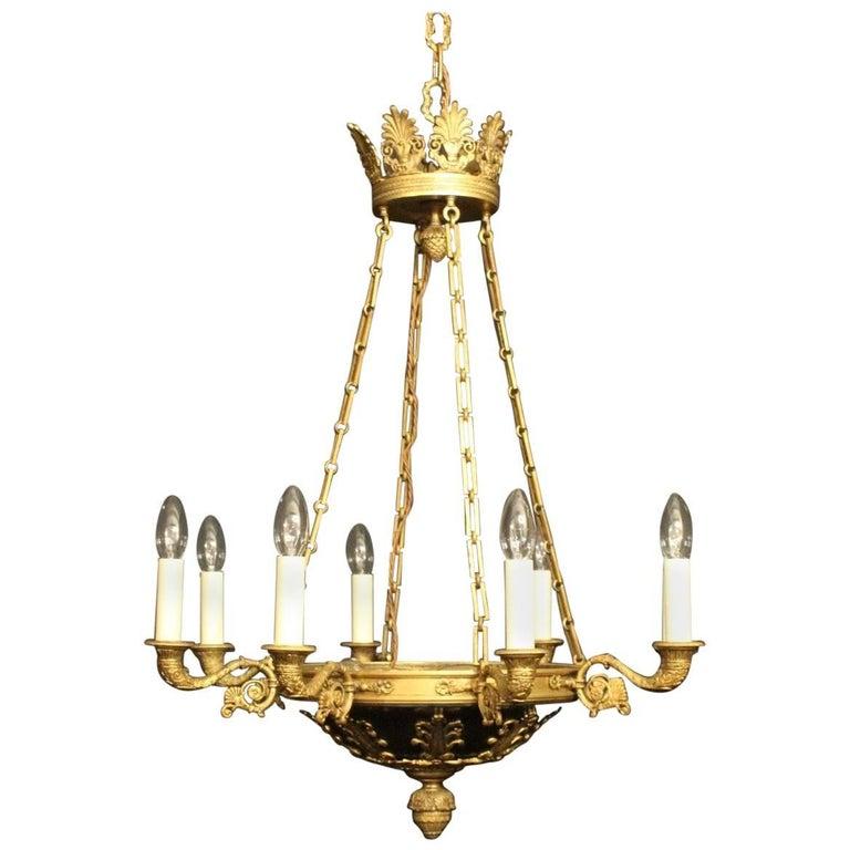 French Gilded Bronze Eleven-Light Empire Antique Chandelier