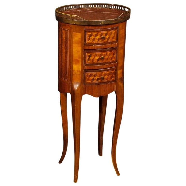 French Inlaid Side Table in Mahogany, Maple, Walnut, Rosewood with Marble-Top