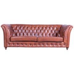 Chesterfield Three-Seat Sofa Brown Leather Couch Vintage Retro Rivets