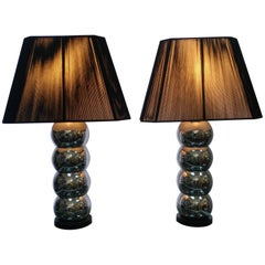 Pair of Stacked Spheres Table Lamps with String Shades, Offered by La Porte