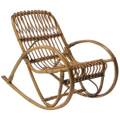 Rattan 1950s Children's Rocking Chair, Franco Albini