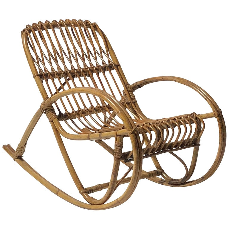 Rattan 1950s Children's Rocking Chair, Franco Albini For Sale
