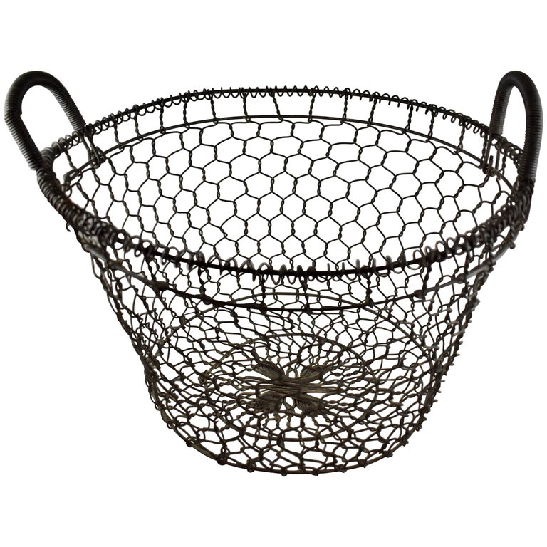 19th Century French Large Chicken Wire Handled Maison de Campagne Basket