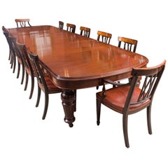 Antique D End Mahogany Dining Table and 12 Chairs by Edwards & Roberts