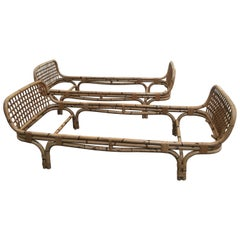 Pair of Italian Bamboo Single Beds with Intertwine Motives from 1970s