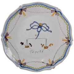 18th Century Nevers French Revolution Tin-Glazed Faïence Dish, L'équité