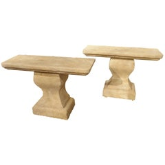 Pair of Carved Limestone Console Tables from Provence, France
