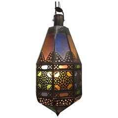 Moroccan Light Fixture with Colored Glass and Metal Filigree Moorish Designs
