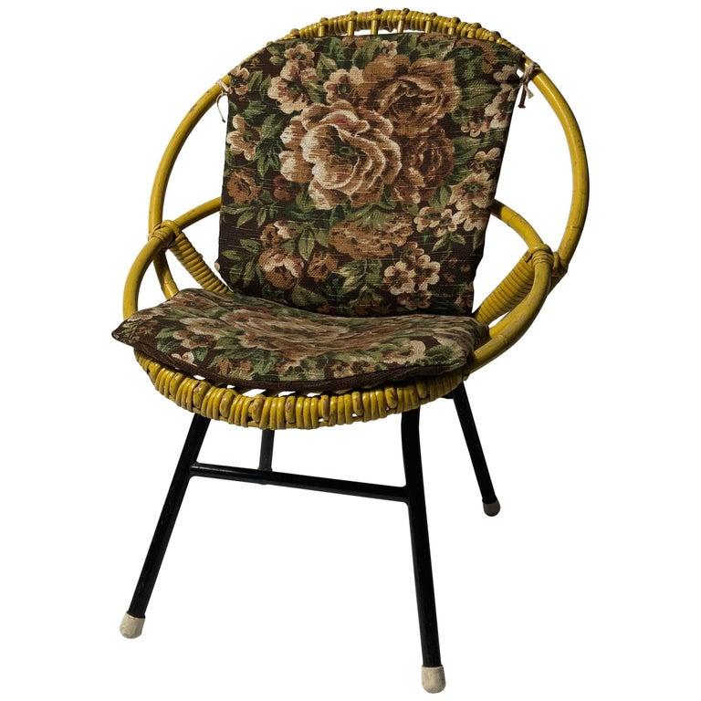 Rohé Noordwolde Children's Chair 1950s Original Paint and Cushion