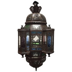 Moroccan Moorish Metal Lantern with Clear and Colored Glass